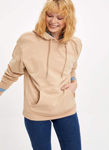 DeFacto Kapüşonlu Regular Fit Sweatshirt Bej